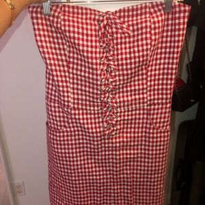 Reformation red gingham strapless dress